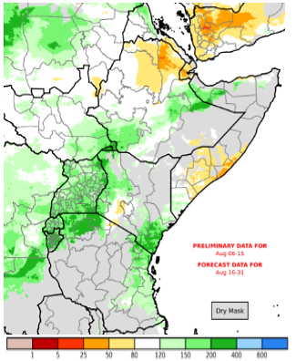 Map depicting cumulative rainfall yhrough August 15th and the 2-week forecast through August 31st. Cumulative rainfall is likely to be average to above average in much of Uganda, northern Sudan, parts of western and coastal Kenya, and Hagaa and Karan-dependent areas of Somalia (Figure 4). Slightly below-average cumulative rainfall is expected in parts of northeastern Ethiopia and Djibouti, southern Somalia together with few areas over southwestern Kenya.  Yemen is also forecast to experience below average rainfall amounts for remainder of August.