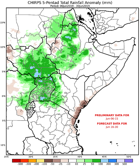 CHIRPS map of East Africa illustrating the CHC Early Estimate for June 6 through June 30, 2019, expressed as the difference from the 1981-2018 average in mm. Based on CHIRPS preliminary data for June 6th-15th and unbiased GEFS forecast for June 16th-30th