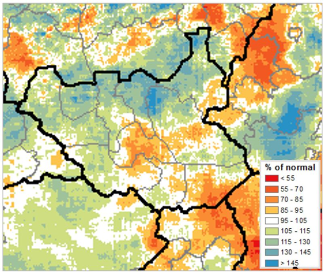CHIRPS map of South Sudan illustrating rainfall as a percentage of normal from March 1st to May 30th, 2019. Rainfall increased in May though deficits persisted at the end of the season in several areas.
