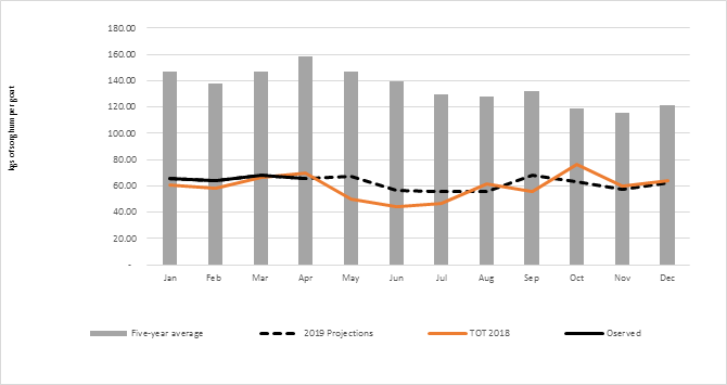 Graph illustrating the bbserved and projected goat-to-sorghum terms of trade in El Gadarif from January to December 2019, the five year average, ToT in 2018, and the observed and projected prices.