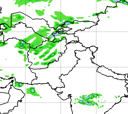 Week II (ending on December 18th of 2018) total precipitation in mm from the Global Forecast System