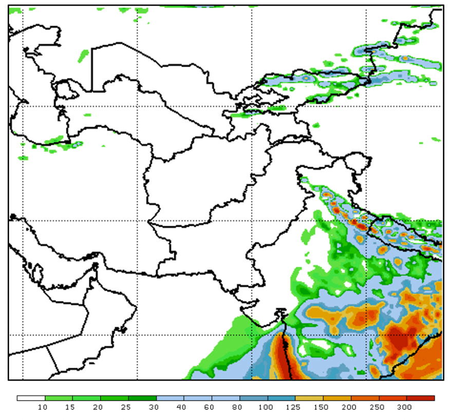 Week II (ending on June 13th) total precipitation in mm from Global Forecast System over Afghanistan.