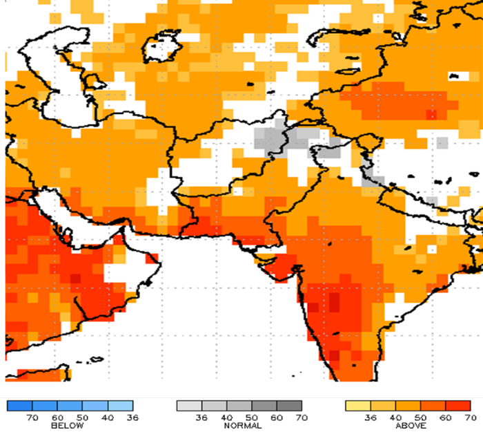 Figure 6. NMME 2-Meter Air Temperature (⁰C) forecast for Afghanistan, April – June 2019 with Feb. 2019 IC.