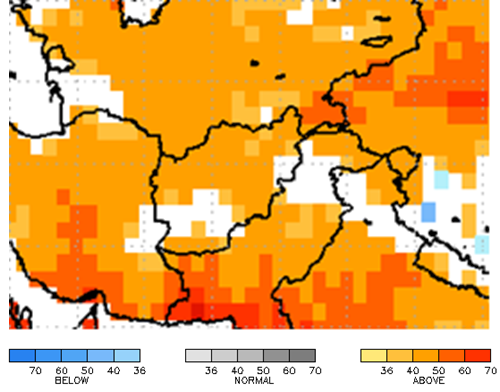 Figure 6. NMME 2-Meter Air Temperature (⁰C) forecast for Afghanistan, April – June 2019 with Mar. 2019 IC.