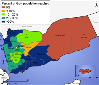 Figure 7. Percent of governorate population receiving WFP humanitarian assistance, July-September 2017 average
