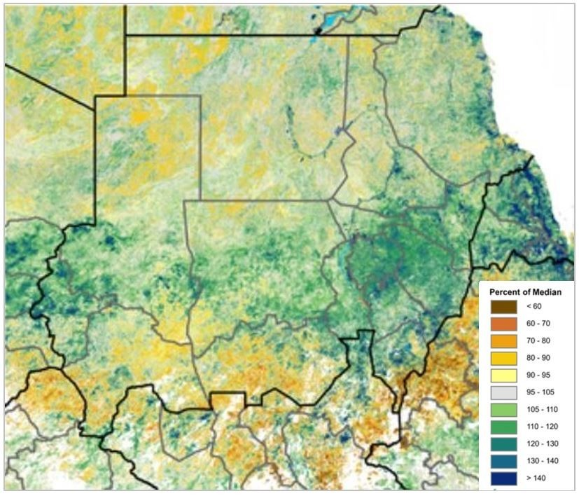 NDVI map of Sudan illustrating vegetation conditions that are above the median across most central areas of the country, though conditions are below the median in southern areas.