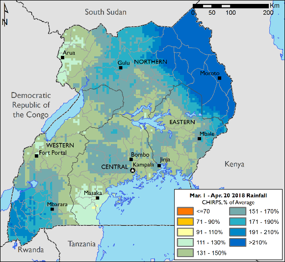 The map of rainfall over Uganda shows that wide areas of the country received rainfall between 130 and over 200 percent of average between March and mid-April. Rainfall was most significantly above average in Karamoja.