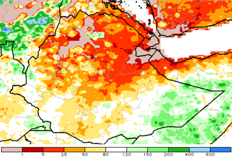 Figure 1. Cumulative rainfall February 1 to April 29, 2015 as a percent of the 1981-to-2010 mean, African rainfall climatology-2 (ARC2) methodology