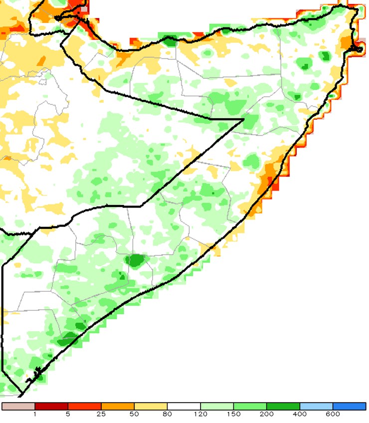 Figure 1. Cumulative March to May 2015 rainfall as a percent of the 1981-to-2010 mean, African Rainfall Climatology-2 (ARC2) methodology