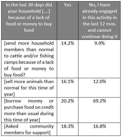 Table reporting livelihood coping and exhaustion of coping options from December 2018 to January 2019. Years of continued conflict have eroded the capacity of my households' to cope.