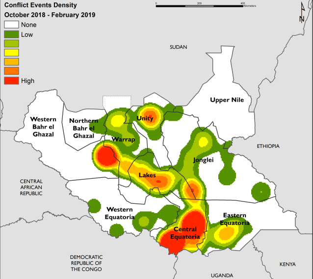 The heat map shows conflict density between October 2018 and February 2019. The highest density of conflict is in Central Equatoria, Western Bahr el Ghazal, across Lakes, and northern Unity.