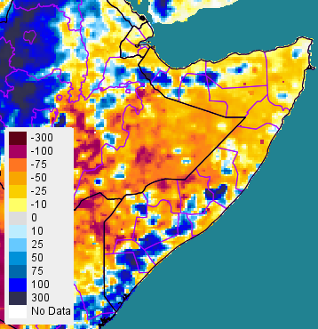 Figure 3. April 1 to June 30 cumulative rainfall anomaly from 2001 to 2013 mean, in millimeters (mm)