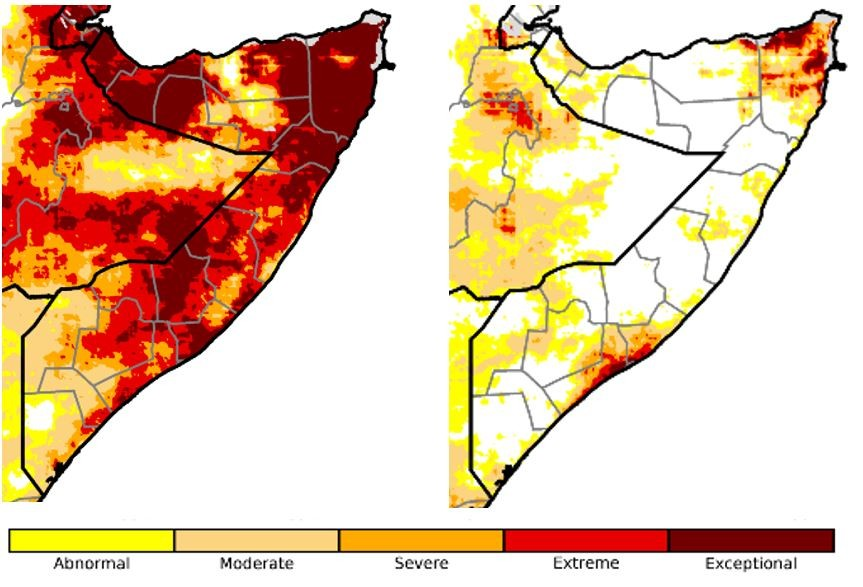 Extreme to exceptional drought persisted over most of the country by May 5. By June 15, moderate to exceptional drought existed in isolated areas but was not widespread.
