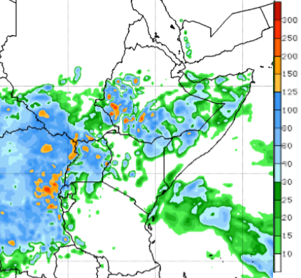 The short-term forecast indicates moderate to heavy rainfall over southern parts of Ethiopia, South Sudan, northern Somalia, Rwanda, portions of Burundi, and northeastern and coastal Kenya.