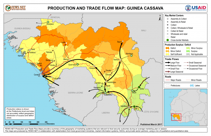 Guinea Cassava Production and Trade Flow Map