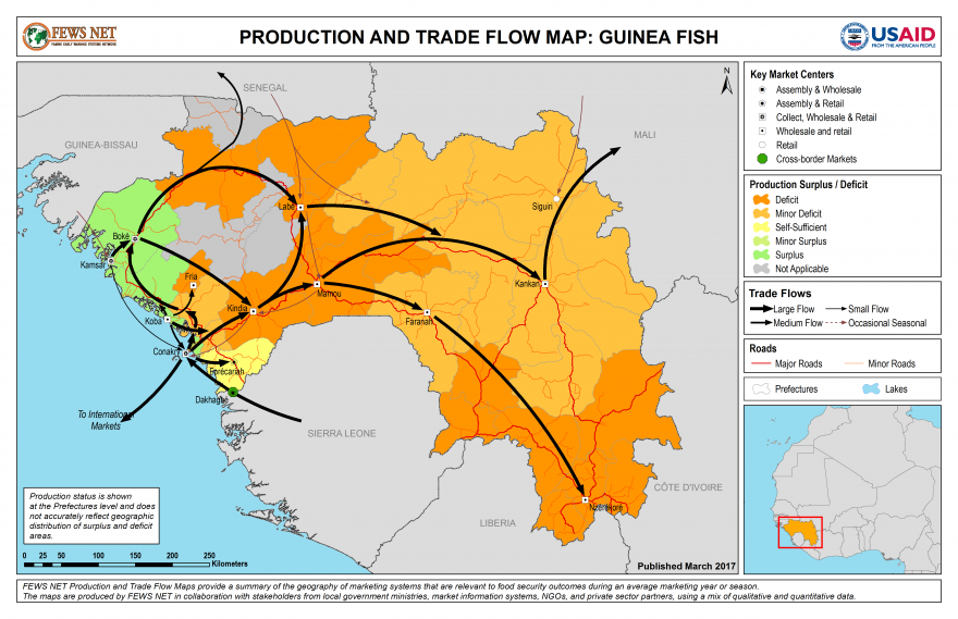 Fish Production and Trade Flow Map Guinea