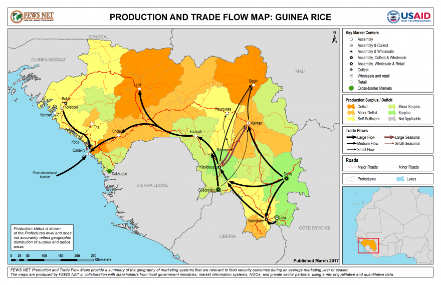 Rice Production and Trade Flow Map Guinea