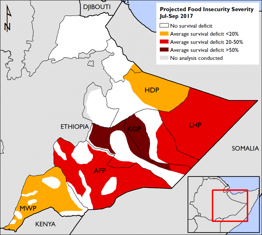 Figure 2. Estimated size of survival deficits for the Poor Wealth Group, by livelihood zone, during the July-September 2017 period