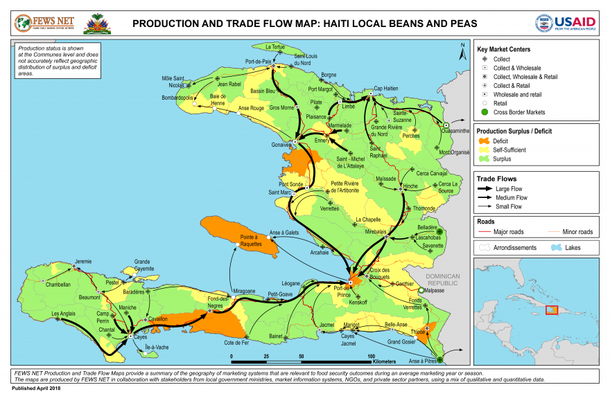 Haiti, Beans and Peas Production and Trade Flow Map