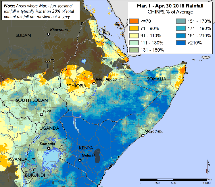 The map of East Africa shows the rainfall anomaly compared to normal. Over the Horn of Africa rainfall is more than 210 percent of average. Across inland countries, rainfall is approximately 150 percent of average.