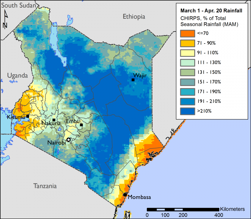 The map shows than over large areas of Kenya, rainfall from March 1 through April 20 exceeeded total seasonal average amounts by more than 191 percent.