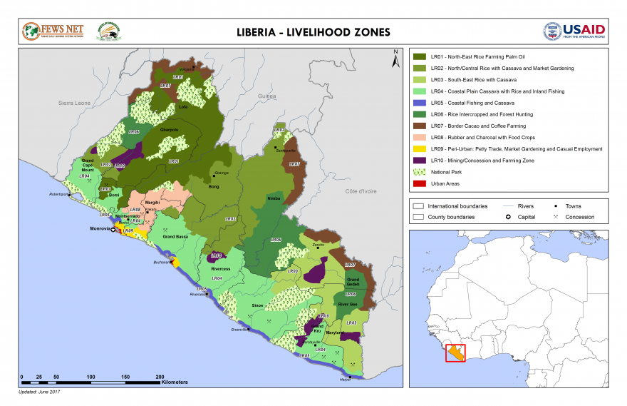 Liberia famine early warning systems network liberia livelihood zone map gumiabroncs Choice Image