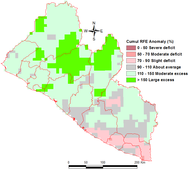 Figure 3. Cumulative rainfall estimate (RFE) anomaly, as a percentage of the short-term average – September 30 to October 10, 2015