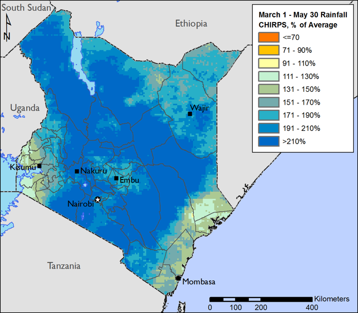 This map shows March 1 to May 30, 2018, CHIRPS rainfall as a percent of the 1981-2010 average. Across most areas of Kenya, rainfall exceeded 210 percent of average.