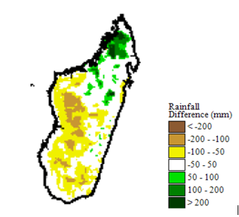 Map of Rainfall anomaly from 1 Sep to 10 Dec 2018, deficits throughout the country except for above average in the far north