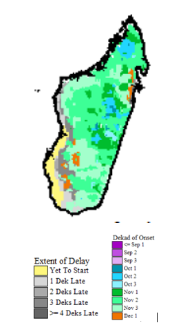 Map of Anomaly in onset of rains as of 1 December 2018: Delayed or not yet started onset of rain in the southwest