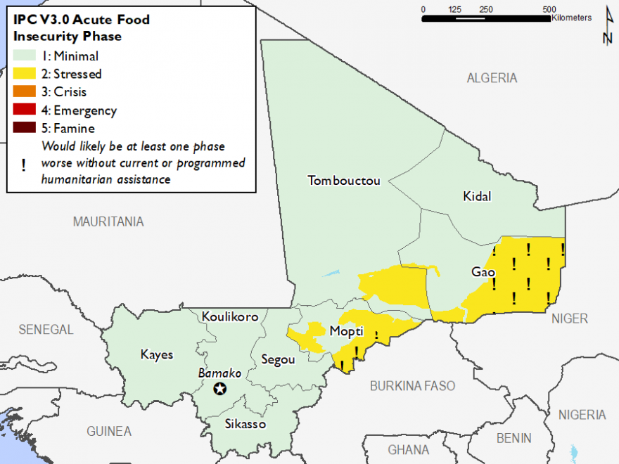 Map of Current food security, June 2019: Minimal (IPC Phase 1) in most of the country,  Stressed (IPC Phase 2) and Stressed! (IPC Phase 2!) in parts of Gao, Timbuktu and Mopti