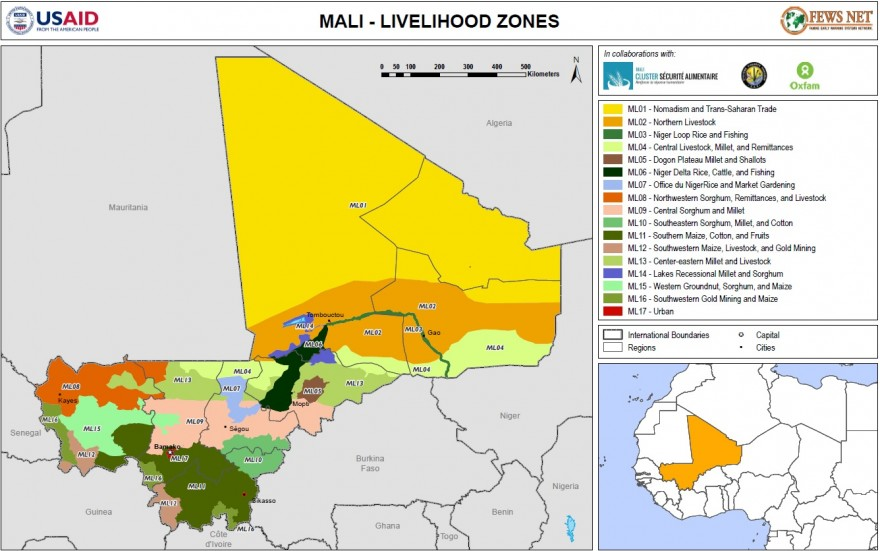 Map of livelihood zones in Mali, 2014