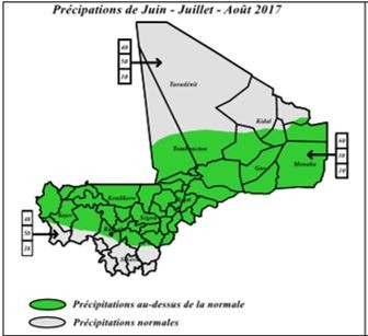 Figure 4. Probability of the most likely rainfall category between June and August 2017