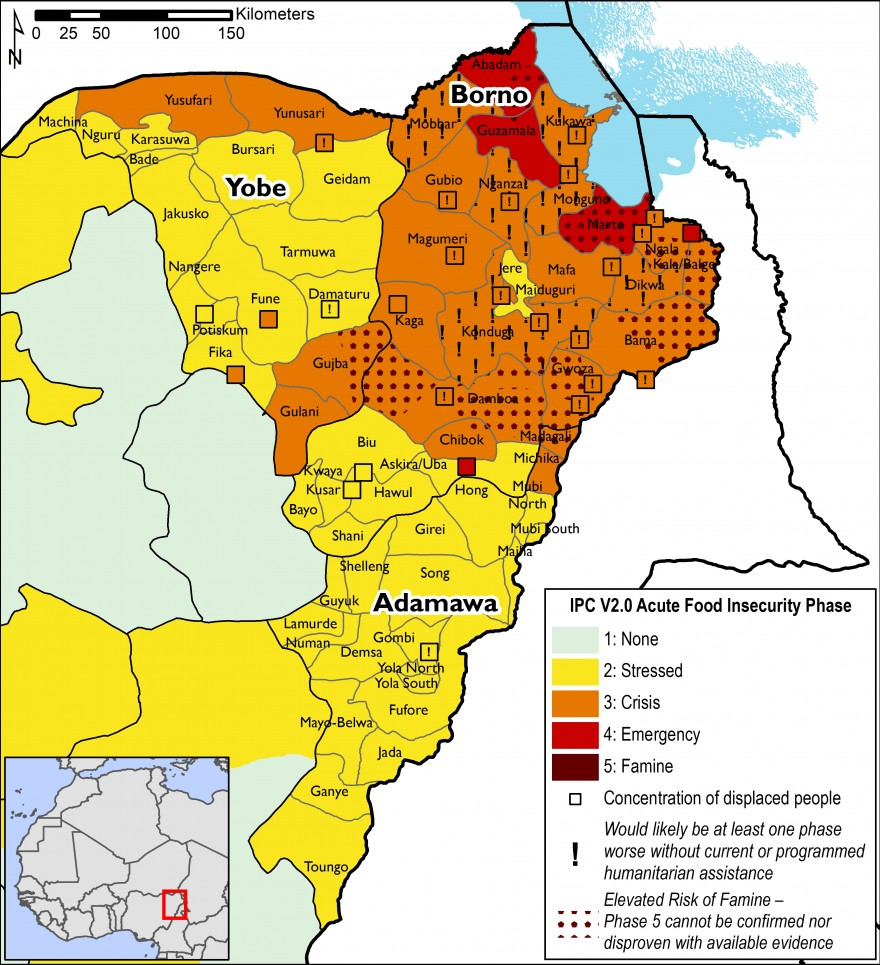 This map indicates that most of Borno State is in IPC Phase 3, Crisis, with northeastern Borno in IPC Phase 4, Emergency. Most of Yobe and Adamawa is in IPC Phase 2, Stressed, with worst-affected areas in IPC Phase 3, Crisis.