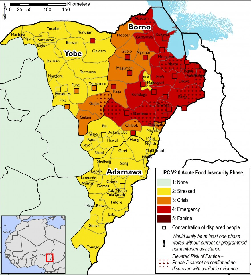 This map indicates that most of Borno State is in IPC Phase 4, Emergency. Most of Yobe and Adamawa is in IPC Phase 2, Stressed, with worst-affected areas in IPC Phase 3, Crisis.