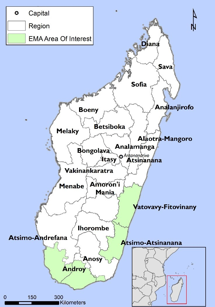 Map of Madagascar illustrating EMA areas of interest