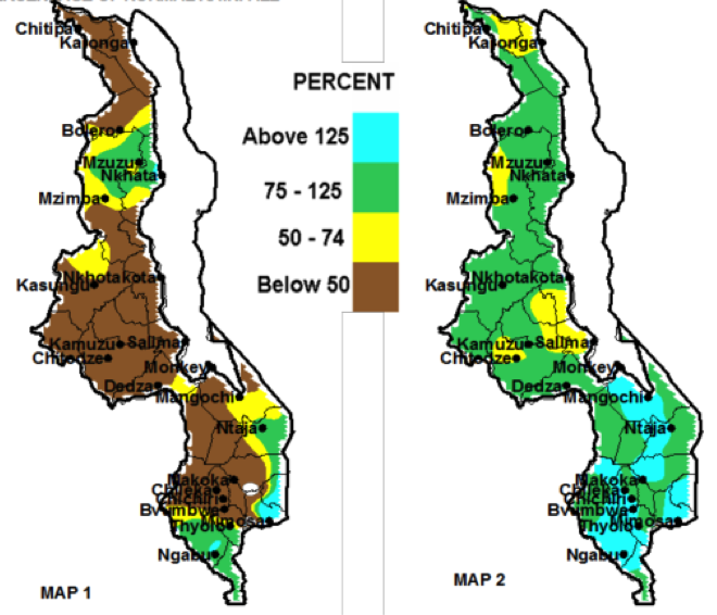 10-day total rainfall as a percentage of normal rainfall, March 1-10 (left). Cumulative rainfall from Oct. 1, 2014 – March 10, 2015 as a percentage of normal rainfall (right).