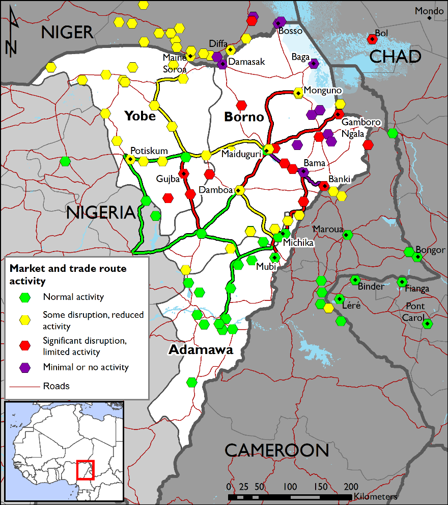 Figure 3. Northeast Nigeria market and trade route activity – week of July11, 2016