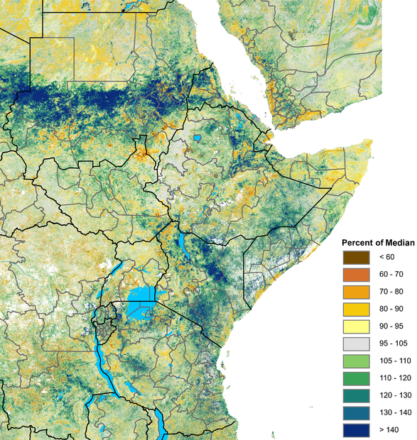 "The Normalized Difference Vegetation Index (NDVI) graphic depicts extremely ""greener-than-normal"" vegetation conditions across much of central Sudan, parts of northern and eastern Ethiopia, and Yemen, excluding far western areas."