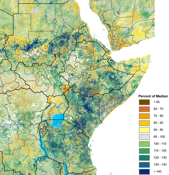 Greener-than-normal vegetation conditions persist over large areas of the Eastern Horn, but some areas in parts of southern and northern Somalia coastal areas, western and northern Uganda, and southeastern South Sudan have been drier-than-normal.