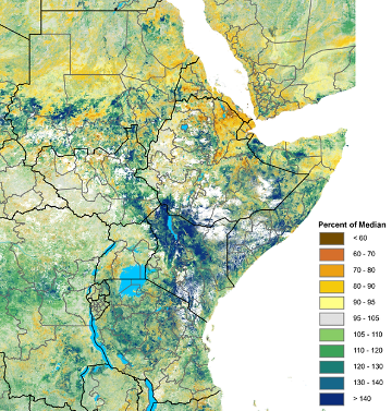 "NDVI continues to show extensive areas of significantly ""greener-than-normal"" vegetation conditions across much of East Africa."