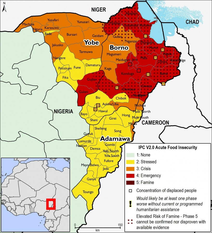 Most likely food security outcomes in Northeast Nigeria from October to January