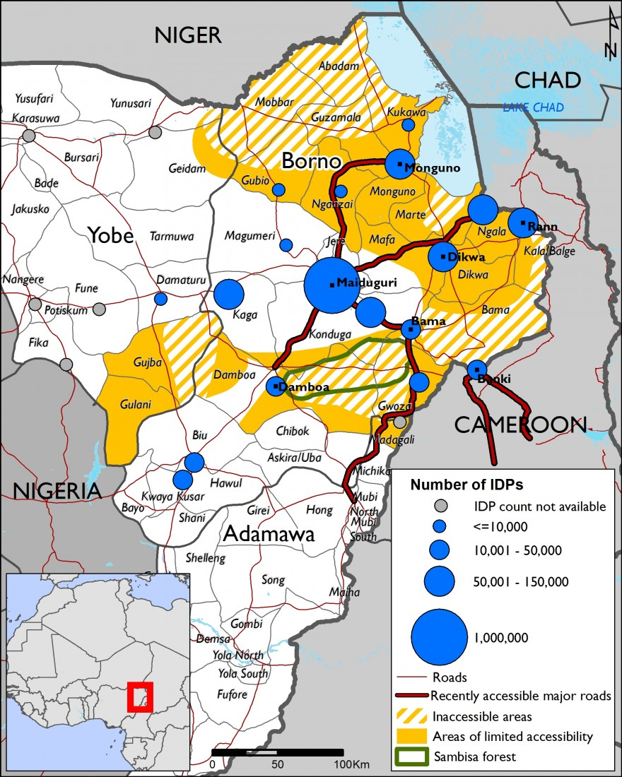 Figure 4 IDP numbers and accessibility in Northeast Nigeria