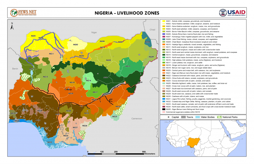 Nigeria livelihood zone map 2018