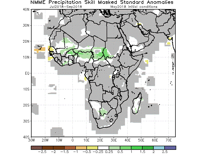 Forecasts indicate above average rainfall over the Sahelian belt and south of it, except to the west.