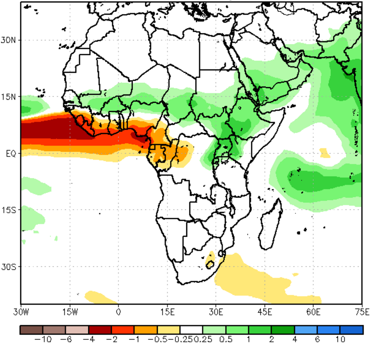 Figure 7. NMME Precipitation Anomalies (mm/day) for July to September 2016