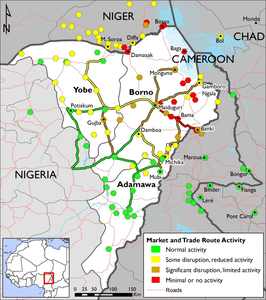 Figure 4. Northeast Nigeria market and trade route activity – week of November 14, 2016