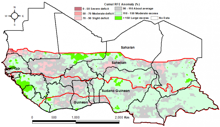 Figure 1:  Total rainfall estimate (RFE) in mm, 1st and 2nddekads of September