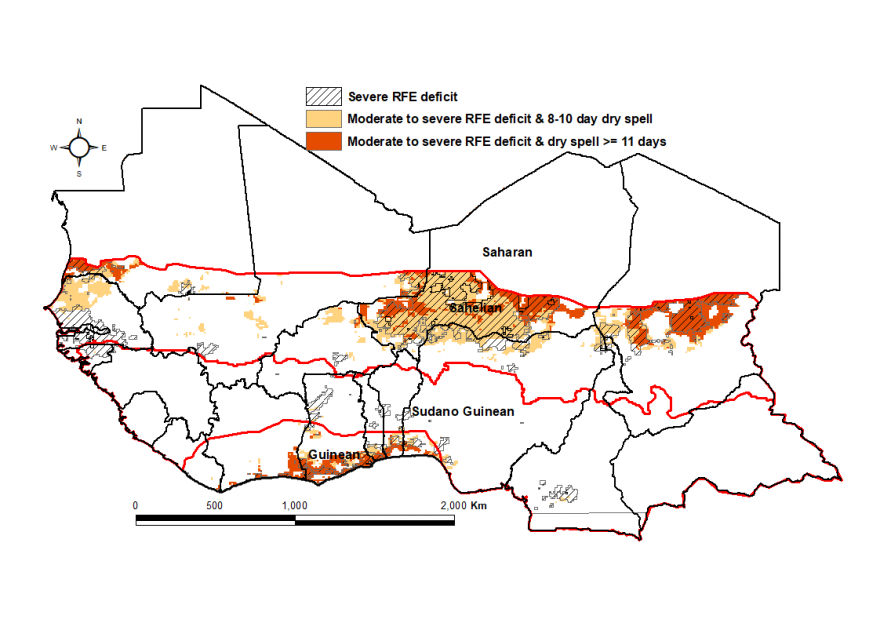 Figure 3: Areas affected by long dry spells and rainfall deficit in September