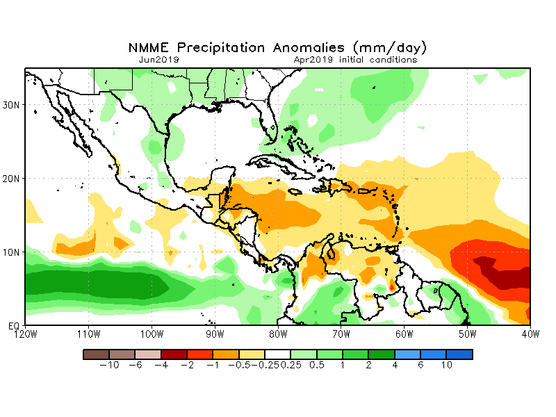 Rainfall is expected around the average in Guatemala in June